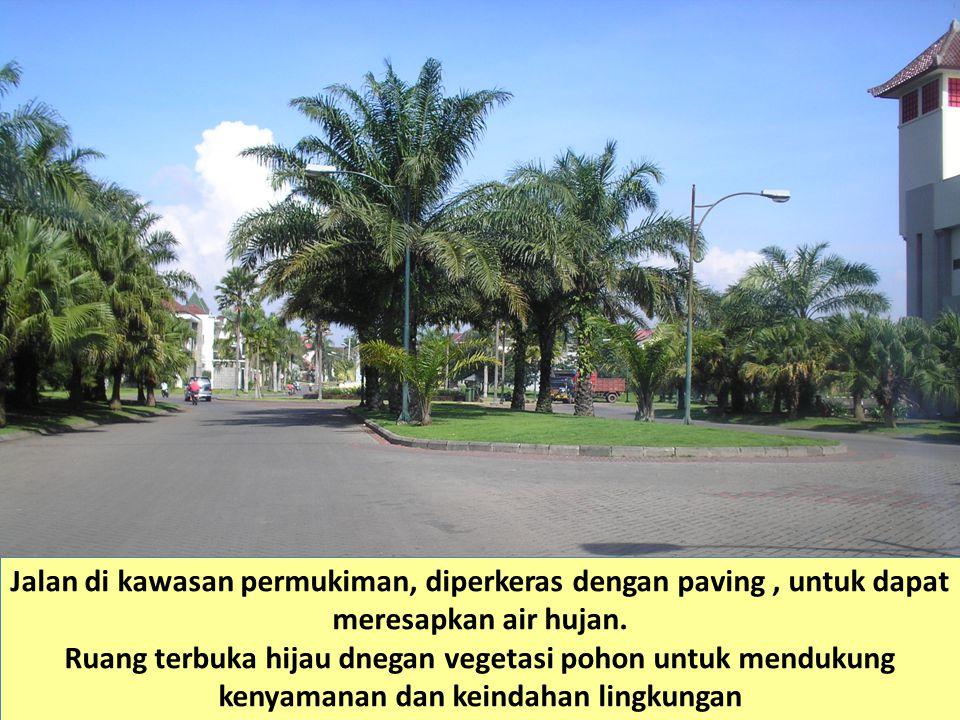 Jalan di kawasan permukiman, diperkeras dengan paving, untuk dapat meresapkan air hujan. Ruang terbuka hijau dnegan vegetasi pohon untuk mendukung ken