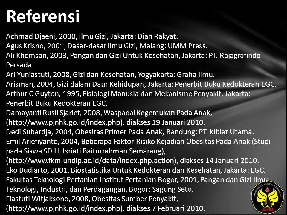 Referensi Achmad Djaeni, 2000, Ilmu Gizi, Jakarta: Dian Rakyat.