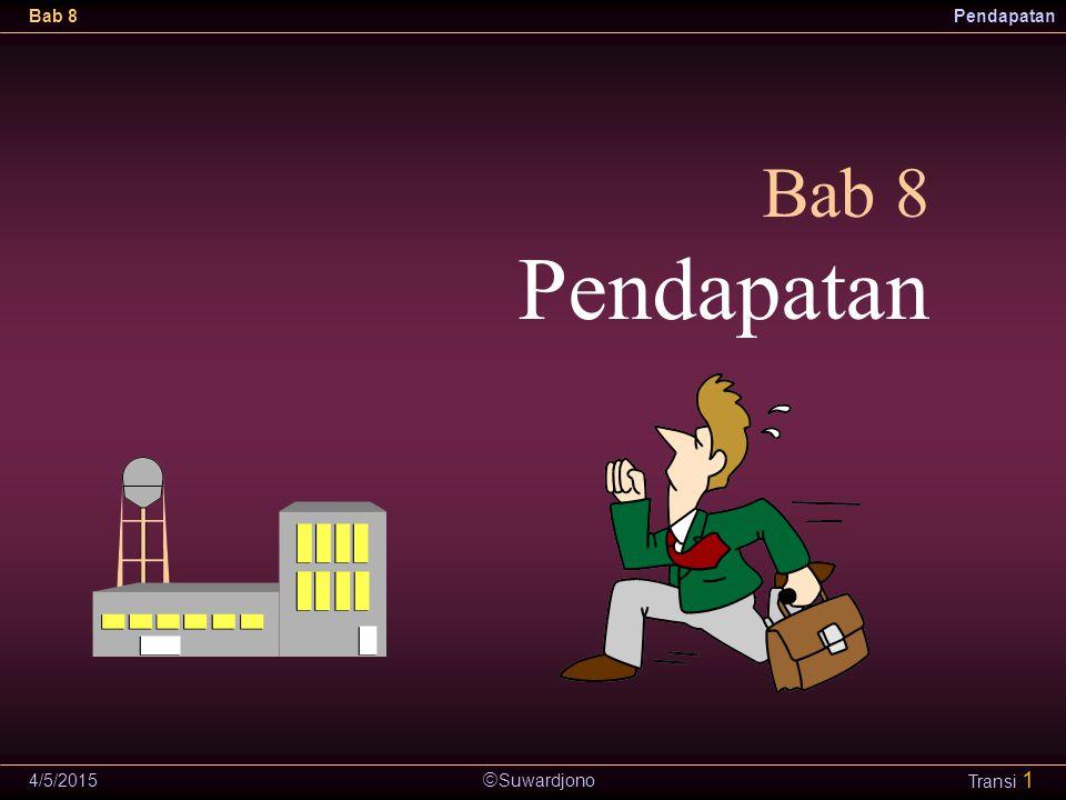  Suwardjono Bab 8Pendapatan 4/5/2015 Transi 12 Konsep Pembentukan Pendapatan A U G BTP R Q V E H D F SWC G* B* E* C* Rupiah Waktu