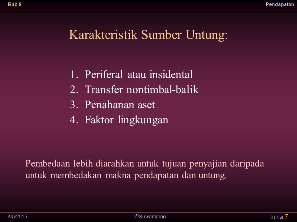  Suwardjono Bab 8Pendapatan 4/5/2015 Transi 7 Karakteristik Sumber Untung: 1.Periferal atau insidental 2.Transfer nontimbal-balik 3.Penahanan aset 4.