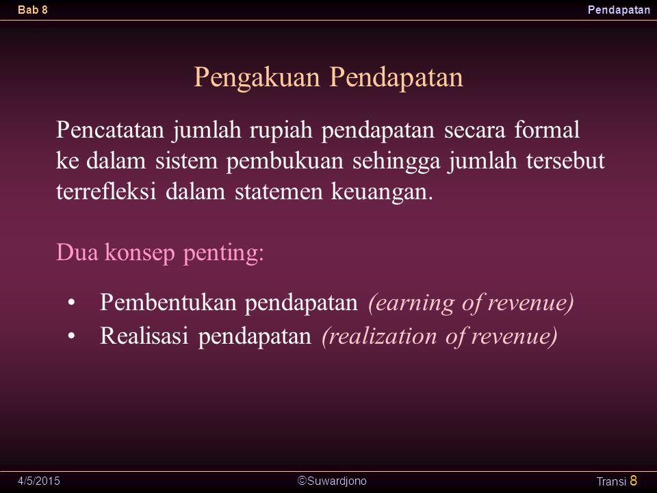  Suwardjono Bab 8Pendapatan 4/5/2015 Transi 9 Konsep Homogenitas Kos Seluruh pos biaya yang direpresentasi dengan kos menghasilkan pendapatan sebagai satu kesatuan.