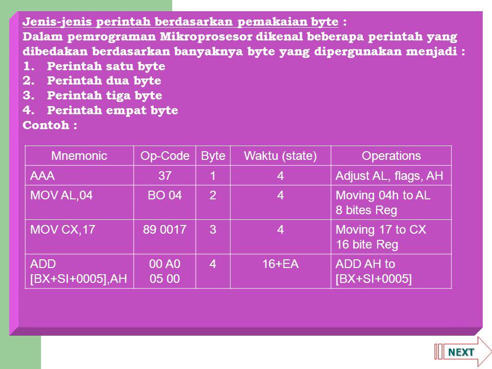 NEXT Jenis-jenis perintah berdasarkan pemakaian byte : Dalam pemrograman Mikroprosesor dikenal beberapa perintah yang dibedakan berdasarkan banyaknya