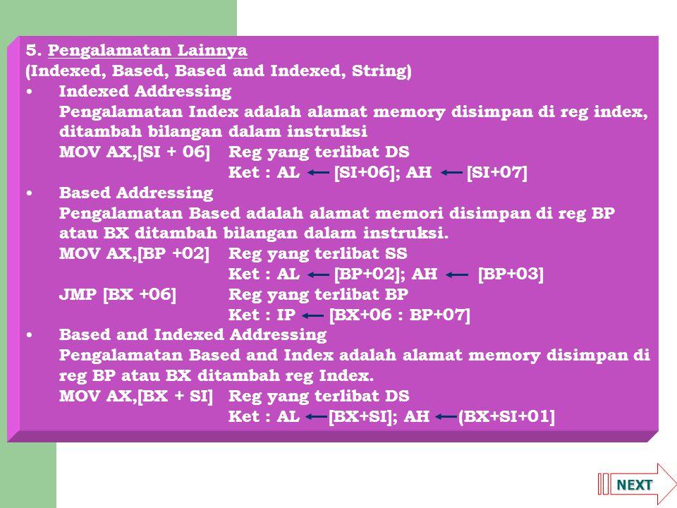NEXT String Addressing Pengalamatan String adalah pengalamatan memory dilakukan oleh dua buah segmen yang berbeda dengan offset reg index.