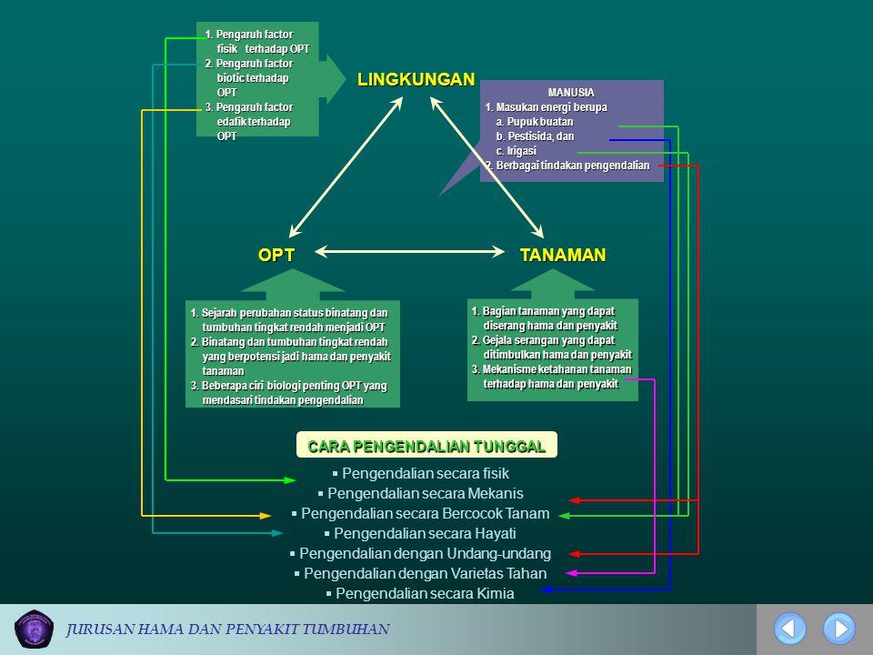 JURUSAN HAMA DAN PENYAKIT TUMBUHAN MANUSIA 1. Masukan energi berupa a. Pupuk buatan a. Pupuk buatan b. Pestisida, dan b. Pestisida, dan c. Irigasi c.
