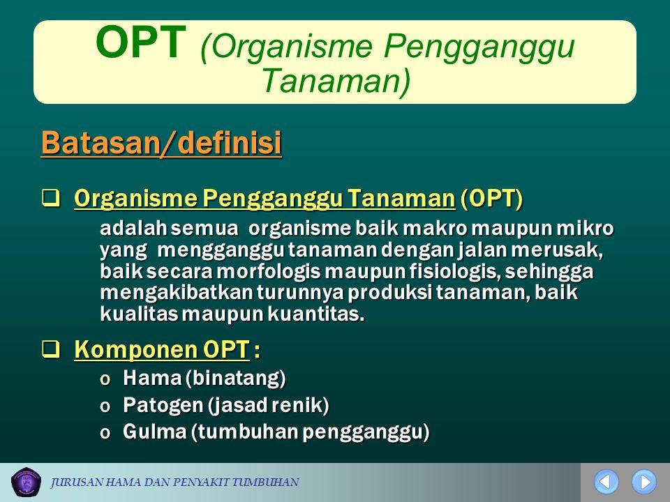 JURUSAN HAMA DAN PENYAKIT TUMBUHAN OPT (Organisme Pengganggu Tanaman)  Organisme Pengganggu Tanaman (OPT) adalah semua organisme baik makro maupun mi