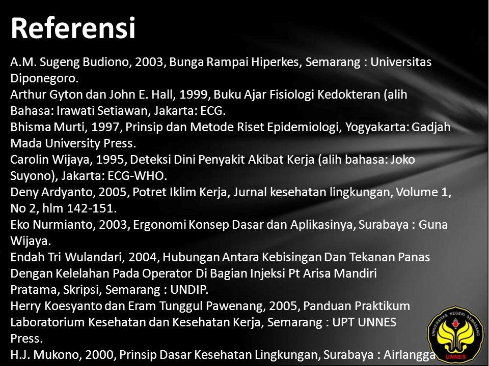 Referensi A.M. Sugeng Budiono, 2003, Bunga Rampai Hiperkes, Semarang : Universitas Diponegoro.