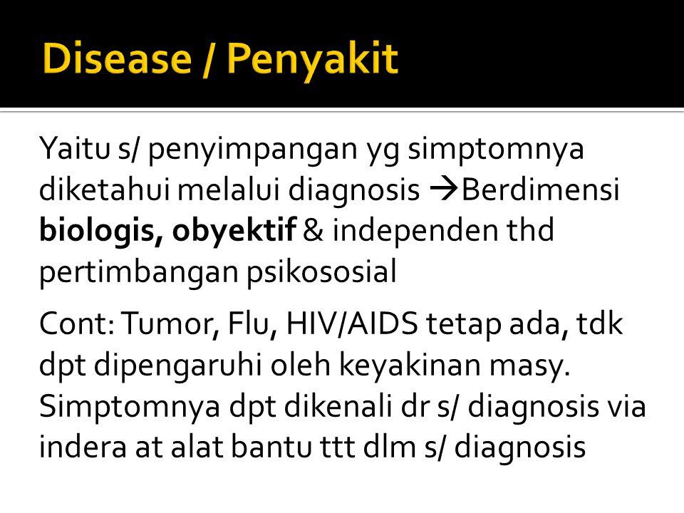 Yaitu s/ penyimpangan yg simptomnya diketahui melalui diagnosis  Berdimensi biologis, obyektif & independen thd pertimbangan psikososial Cont: Tumor,