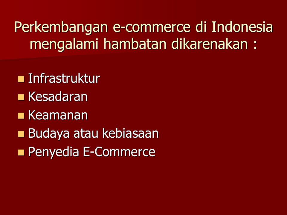 Perkembangan e-commerce di Indonesia mengalami hambatan dikarenakan : Infrastruktur Infrastruktur Kesadaran Kesadaran Keamanan Keamanan Budaya atau kebiasaan Budaya atau kebiasaan Penyedia E-Commerce Penyedia E-Commerce