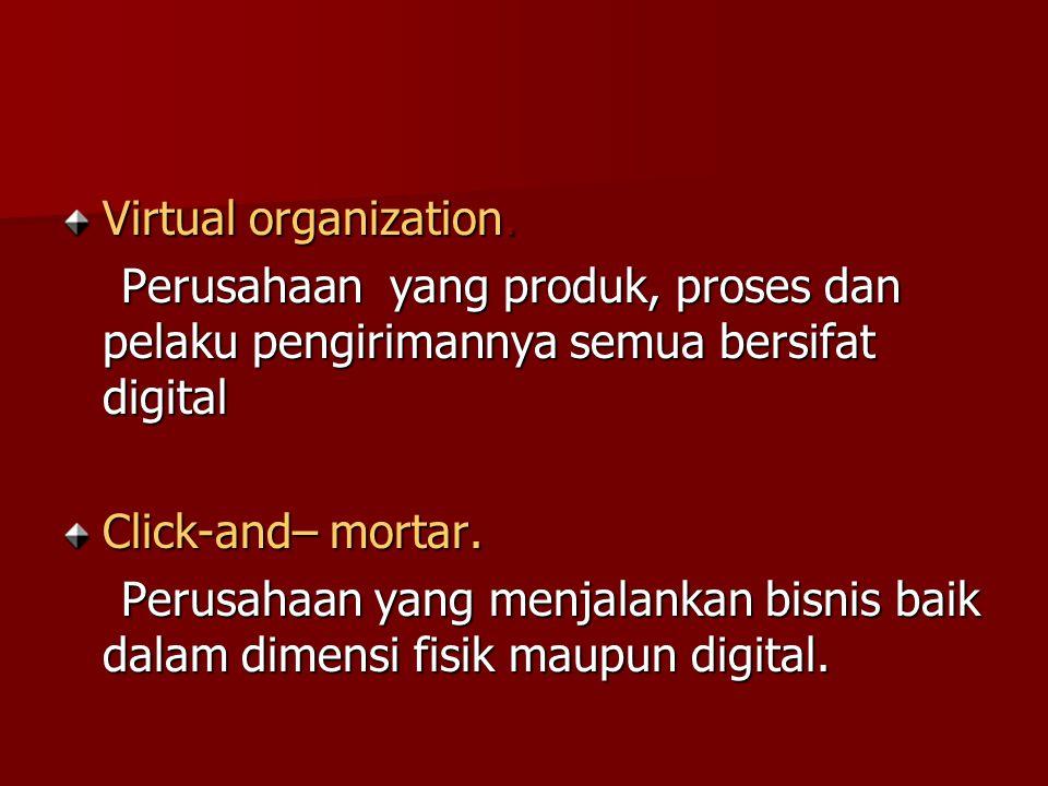 Virtual organization. Perusahaan yang produk, proses dan pelaku pengirimannya semua bersifat digital Perusahaan yang produk, proses dan pelaku pengiri