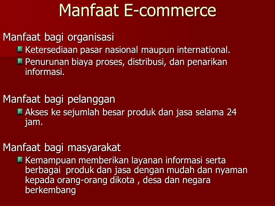 Manfaat E-commerce Manfaat bagi organisasi Ketersediaan pasar nasional maupun international. Penurunan biaya proses, distribusi, dan penarikan informa