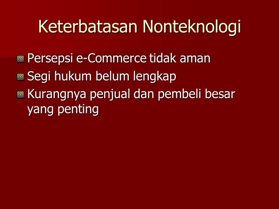 Keterbatasan Nonteknologi Persepsi e-Commerce tidak aman Segi hukum belum lengkap Kurangnya penjual dan pembeli besar yang penting