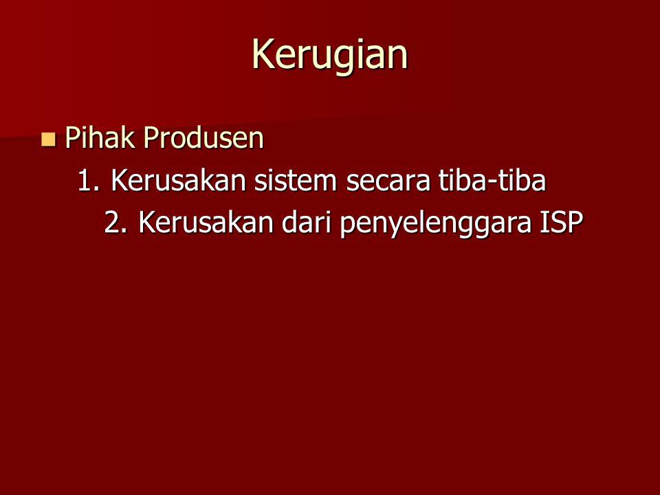 Pihak Produsen Pihak Produsen 1. Kerusakan sistem secara tiba-tiba 1. Kerusakan sistem secara tiba-tiba 2. Kerusakan dari penyelenggara ISP 2. Kerusak