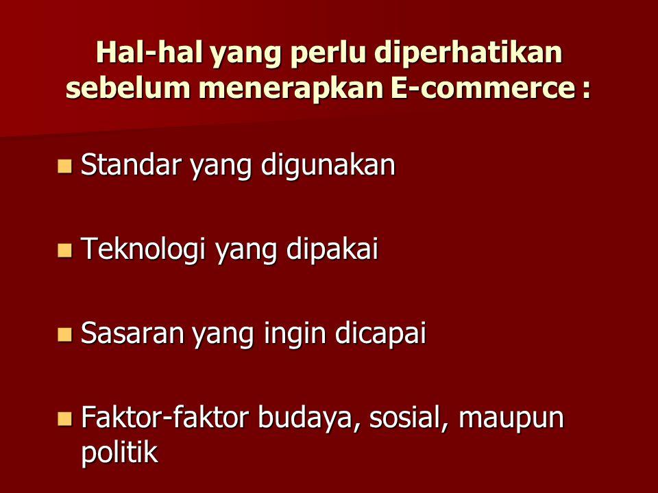 Hal-hal yang perlu diperhatikan sebelum menerapkan E-commerce : Standar yang digunakan Standar yang digunakan Teknologi yang dipakai Teknologi yang dipakai Sasaran yang ingin dicapai Sasaran yang ingin dicapai Faktor-faktor budaya, sosial, maupun politik Faktor-faktor budaya, sosial, maupun politik
