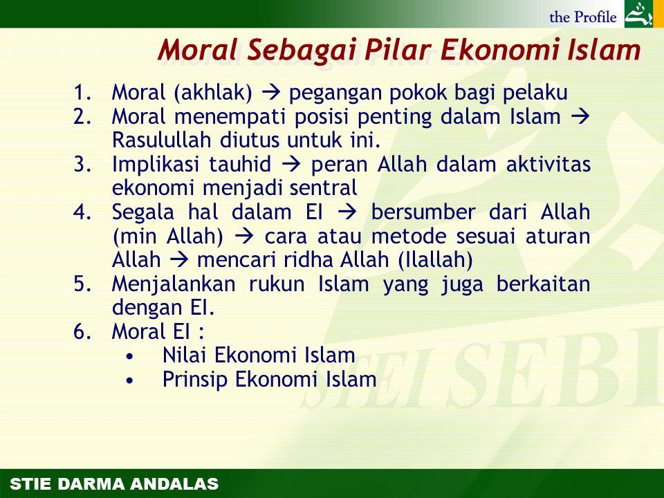 STIE DARMA ANDALAS 1.Moral (akhlak)  pegangan pokok bagi pelaku 2.Moral menempati posisi penting dalam Islam  Rasulullah diutus untuk ini. 3.Implika