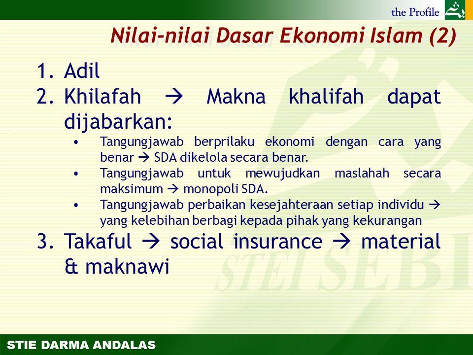 STIE DARMA ANDALAS 1.Adil 2.Khilafah  Makna khalifah dapat dijabarkan: Tangungjawab berprilaku ekonomi dengan cara yang benar  SDA dikelola secara b