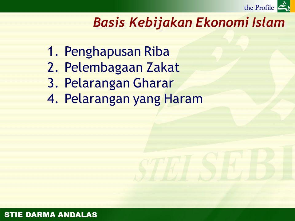 STIE DARMA ANDALAS 1.Penghapusan Riba 2.Pelembagaan Zakat 3.Pelarangan Gharar 4.Pelarangan yang Haram Basis Kebijakan Ekonomi Islam