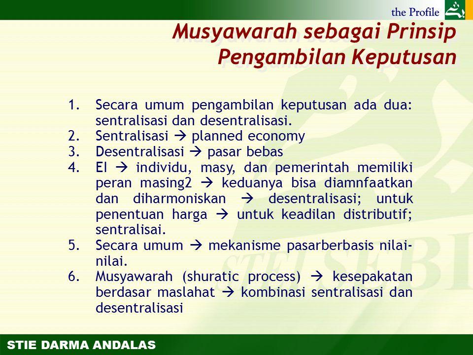 STIE DARMA ANDALAS 1.Secara umum pengambilan keputusan ada dua: sentralisasi dan desentralisasi. 2.Sentralisasi  planned economy 3.Desentralisasi  p