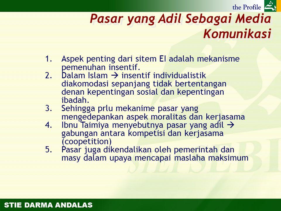 STIE DARMA ANDALAS 1.Aspek penting dari sitem EI adalah mekanisme pemenuhan insentif. 2.Dalam Islam  insentif individualistik diakomodasi sepanjang t