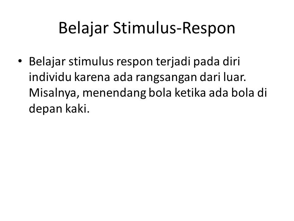 Belajar Stimulus-Respon Belajar stimulus respon terjadi pada diri individu karena ada rangsangan dari luar.