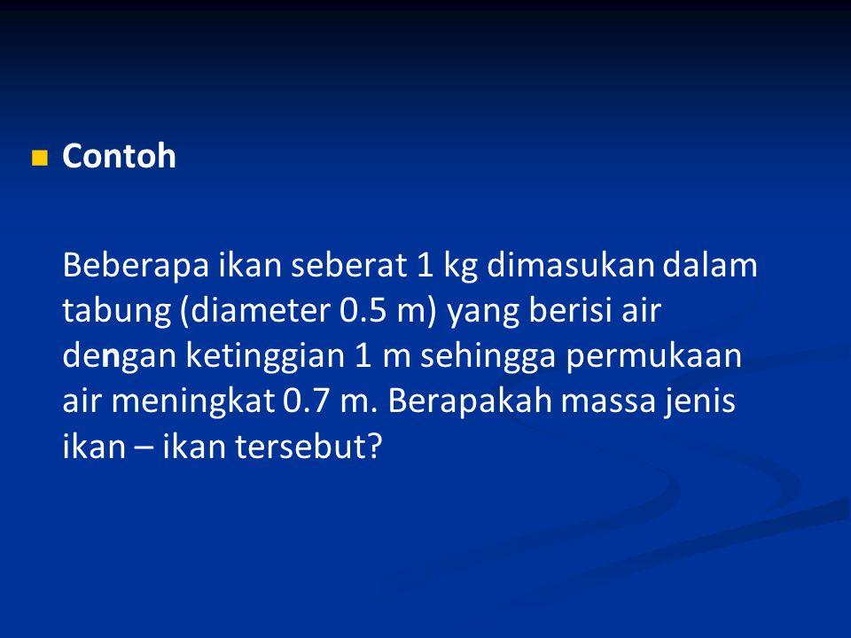 Contoh Beberapa ikan seberat 1 kg dimasukan dalam tabung (diameter 0.5 m) yang berisi air dengan ketinggian 1 m sehingga permukaan air meningkat 0.7 m.
