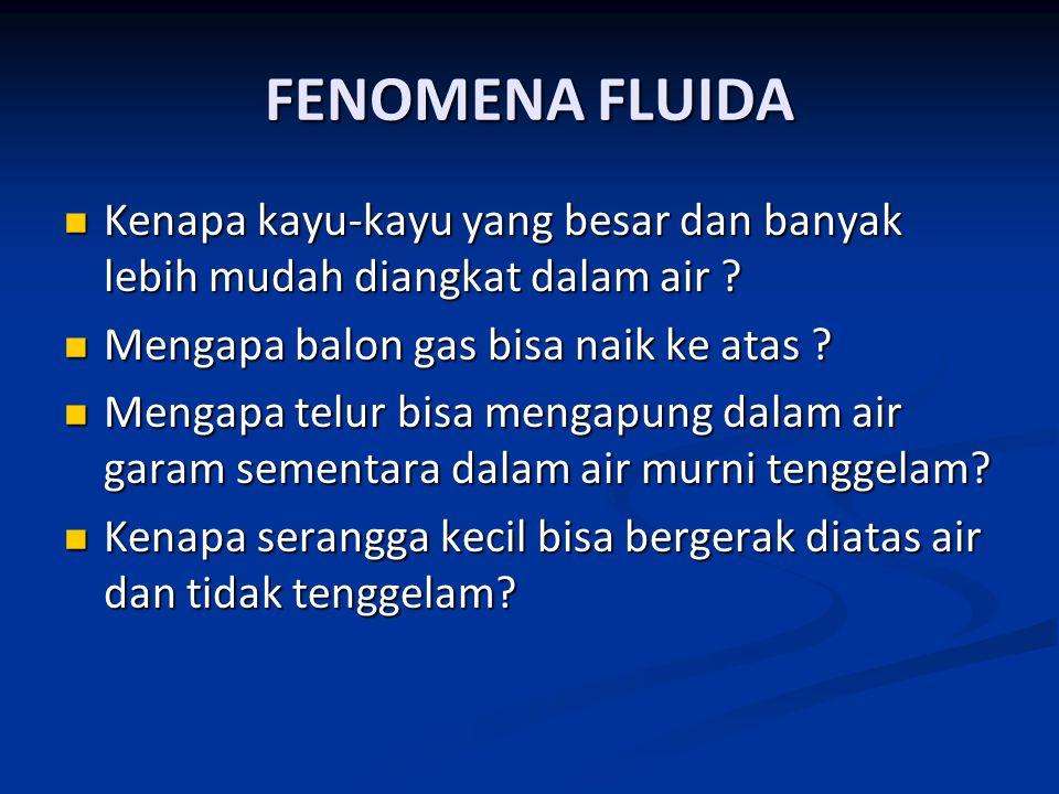 FENOMENA FLUIDA Kenapa kayu-kayu yang besar dan banyak lebih mudah diangkat dalam air ? Kenapa kayu-kayu yang besar dan banyak lebih mudah diangkat da