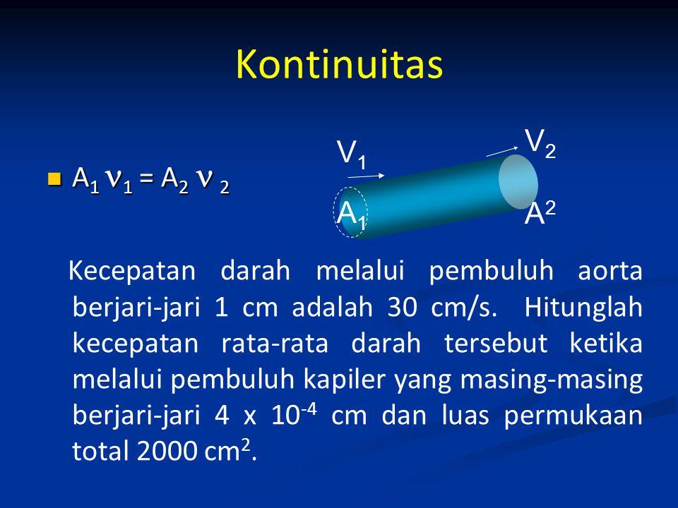 Kontinuitas A 1 1 = A 2 2 A 1 1 = A 2 2 Kecepatan darah melalui pembuluh aorta berjari-jari 1 cm adalah 30 cm/s. Hitunglah kecepatan rata-rata darah t