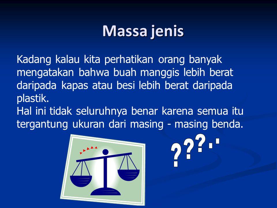 Massa jenis (lanjut……) Suatu sifat penting dari zat adalah rasio massa terhadap volumenya yang dinamakan massa jenis Suatu sifat penting dari zat adalah rasio massa terhadap volumenya yang dinamakan massa jenis  = Densitas / massa jenis (Kg/m 3 ) m = Massa benda (Kg) V = Volume benda (m 3 )