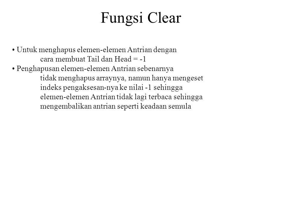 Fungsi Clear Untuk menghapus elemen-elemen Antrian dengan cara membuat Tail dan Head = -1 Penghapusan elemen-elemen Antrian sebenarnya tidak menghapus