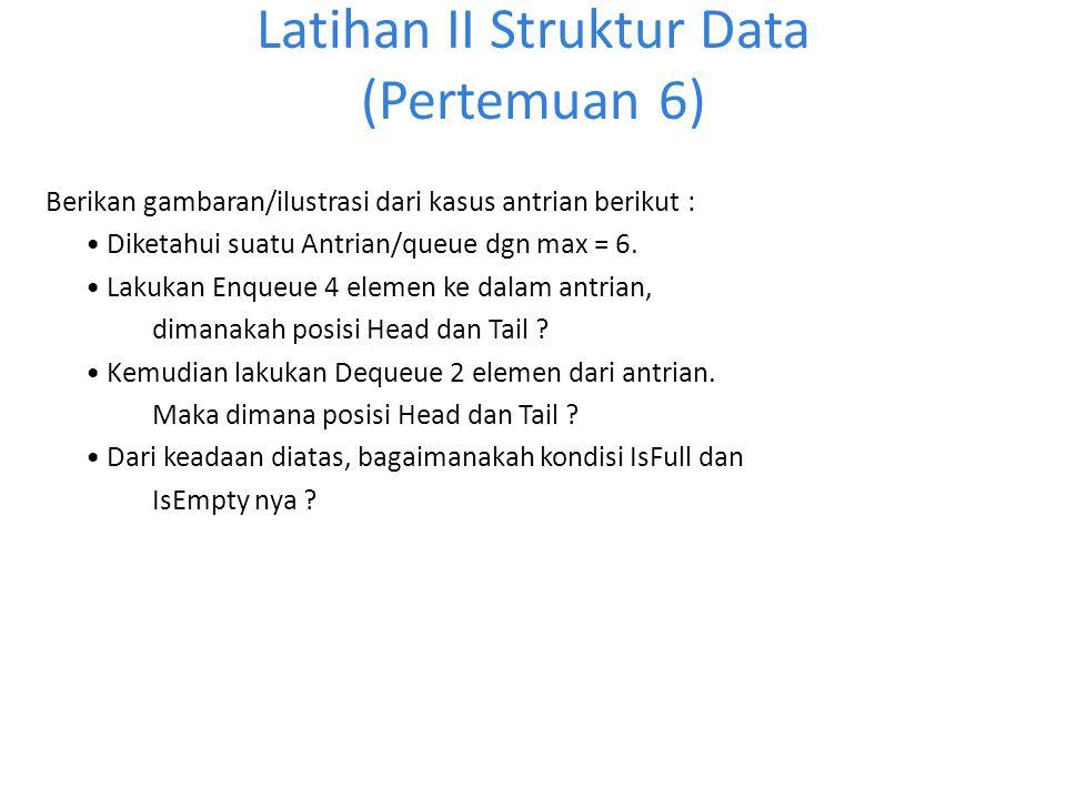 Latihan II Struktur Data (Pertemuan 6) Berikan gambaran/ilustrasi dari kasus antrian berikut : Diketahui suatu Antrian/queue dgn max = 6. Lakukan Enqu