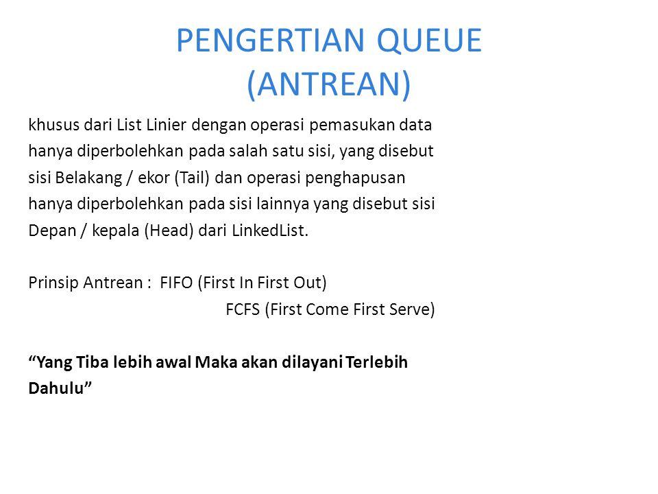 Deklarasi Queue #define MAX 8 typef struct { int data [MAX]; int head; int tail; } queue; Queue antraian; 0123456701234567 MAX=8