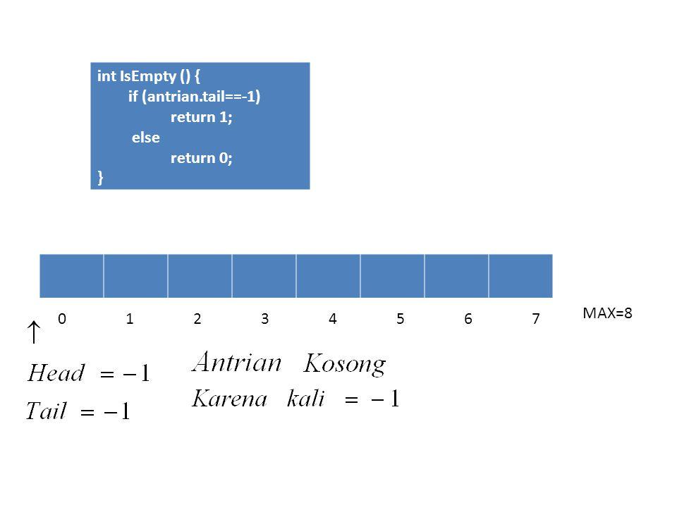 Fungsi IsFull Untuk mengecek apakah Antrian sudah penuh atau belum Dengan cara : Mengecek nilai Tail Jika tail = MAX-1 berarti antrian sudah penuh (MAX-1 adalah batas elemen array dalam program C++) Int IsFull () { if (atrian.tail==MAX-1) return 1; else return 0; }