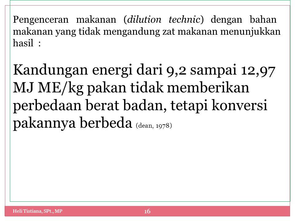 Heli Tistiana, SPt., MP 16 Pengenceran makanan (dilution technic) dengan bahan makanan yang tidak mengandung zat makanan menunjukkan hasil : Kandungan