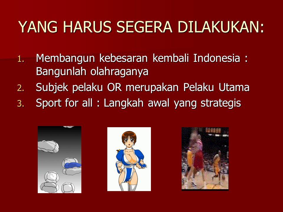 Pentingnya Pemerintah terlibat dalam Olahraga 1.Indonesia : OR  alat untuk Persatuan dan Kesatuan  Miniaturnya kehidupan (kognitif, afektif, psikomotorik): (kognitif, afektif, psikomotorik): IPOLEKSOSBUDHANKAMRATA IPOLEKSOSBUDHANKAMRATA 2.