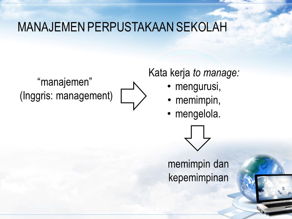 """MANAJEMEN PERPUSTAKAAN SEKOLAH """"manajemen"""" (Inggris: management) memimpin dan kepemimpinan Kata kerja to manage: mengurusi, memimpin, mengelola."""