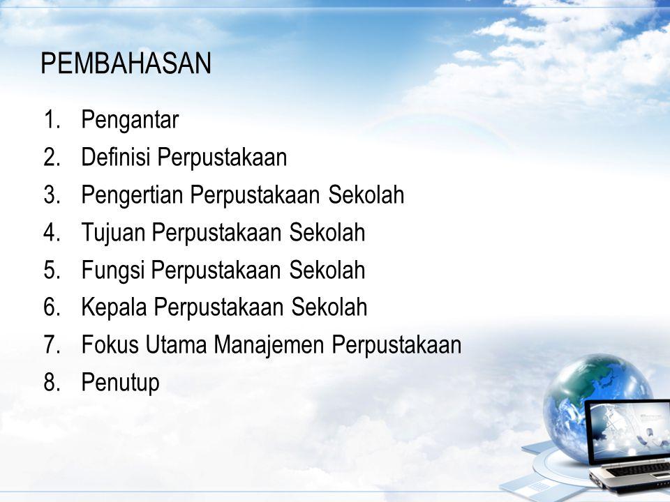 KEPALA PERPUSTAKAAN SEKOLAH (lanjutan) Lampiran : Peraturan Menteri Pendidikan Nasional Republik Indonesia Nomor 25 Tahun 2008, Tentang Standar Tenaga Perpustakaan Sekolah/Madrasah: Kepala Perpustakaan Sekolah/Madrasah yang melalui jalur pendidik harus memenuhi syarat: a.Berkualifikasi serendah-rendahnya diploma empat (D4) atau sarjana (S1); b.Memiliki sertifikat kompetensi pengelolaan perpustakaan sekolah/madrasah dari lembaga yang ditetapkan oleh pemerintah; c.Masa kerja minimal 3 (tiga) tahun.