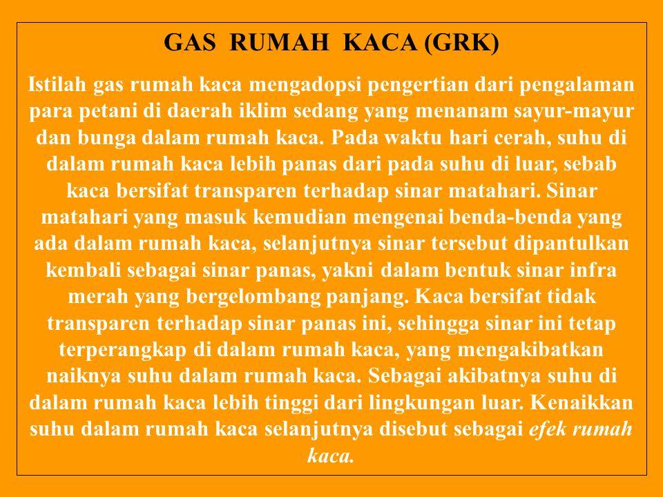 GAS RUMAH KACA (GRK) Istilah gas rumah kaca mengadopsi pengertian dari pengalaman para petani di daerah iklim sedang yang menanam sayur-mayur dan bung