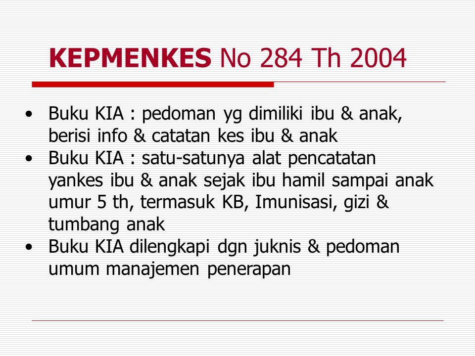 KEPMENKES No 284 Th 2004 Buku KIA : pedoman yg dimiliki ibu & anak, berisi info & catatan kes ibu & anak Buku KIA : satu-satunya alat pencatatan yanke
