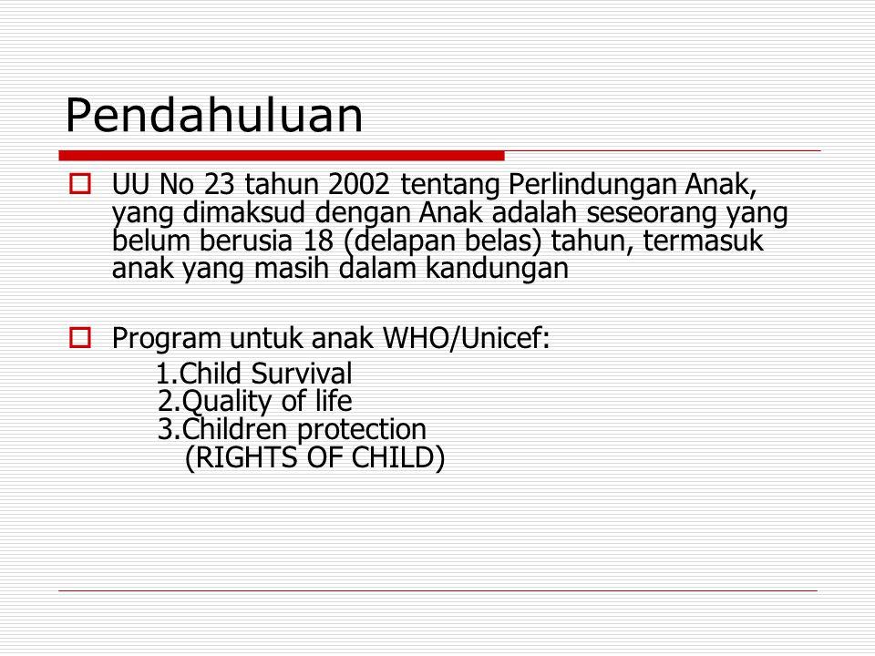 Pendahuluan  UU No 23 tahun 2002 tentang Perlindungan Anak, yang dimaksud dengan Anak adalah seseorang yang belum berusia 18 (delapan belas) tahun, t