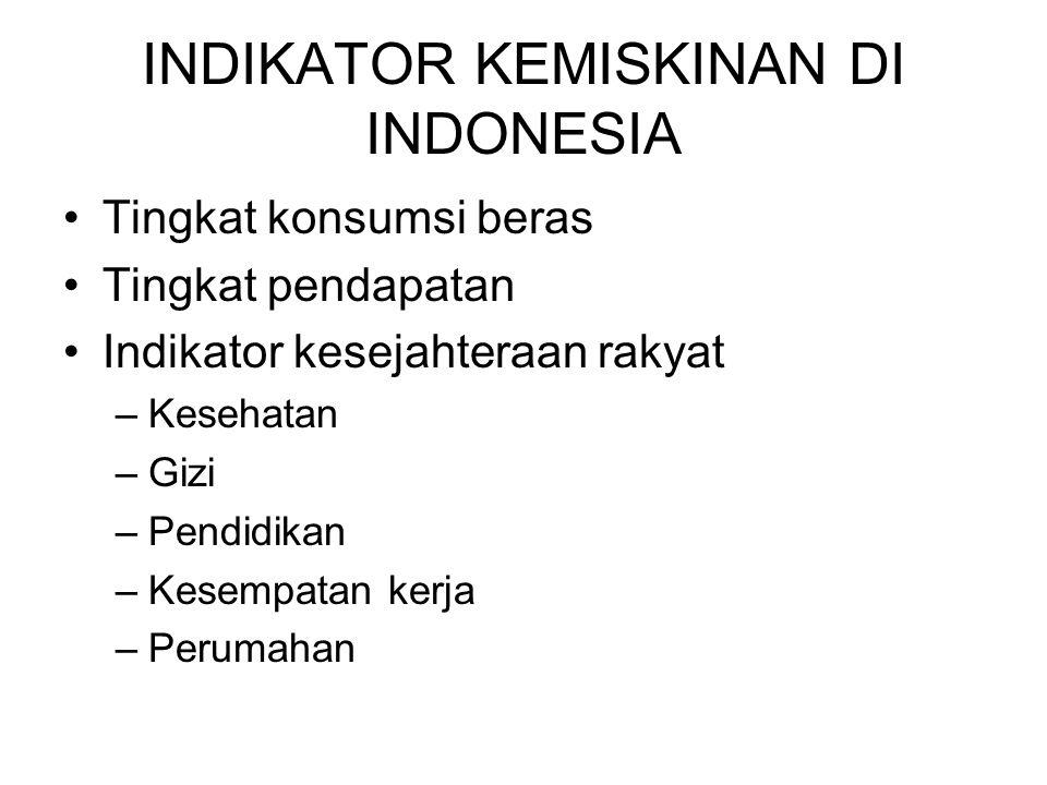 INDIKATOR KEMISKINAN DI INDONESIA (tahun 2005) Luas rumah kurang dari 8 m 2 Lantai rumah dari tanah Dinding rumah dari papan/tripleks Tidak dapat mengakses air bersih Tidak memiliki jamban/wc Tidak memiliki meubel Pembelian pakaian 1 kali setahun atau kurang Lauk tidak memiliki variasi Nilai makanan < 2100 kalori sehari (Disamakan dengan pendapatan Rp175.000/bulan)