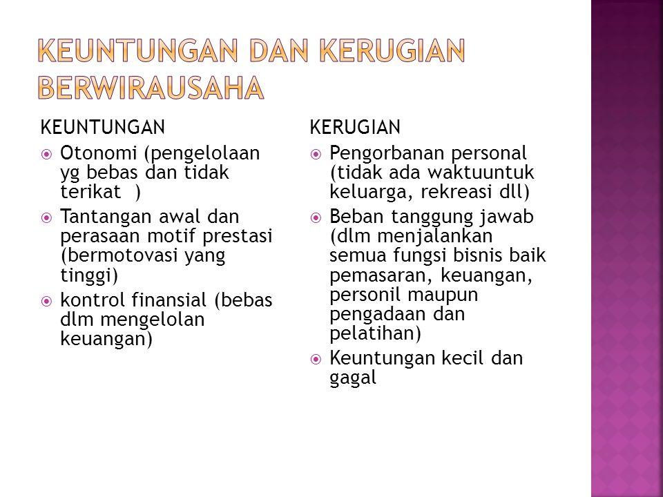 KEUNTUNGAN  Otonomi (pengelolaan yg bebas dan tidak terikat )  Tantangan awal dan perasaan motif prestasi (bermotovasi yang tinggi)  kontrol finans