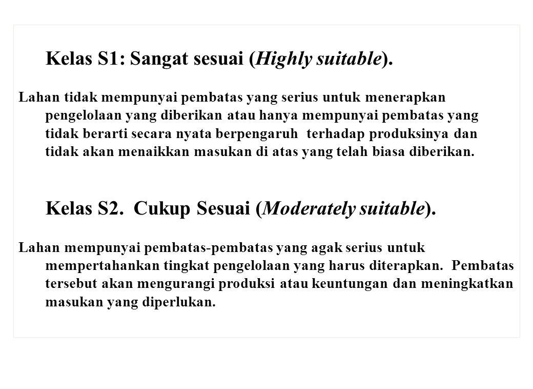 Kelas S1: Sangat sesuai (Highly suitable). Lahan tidak mempunyai pembatas yang serius untuk menerapkan pengelolaan yang diberikan atau hanya mempunyai