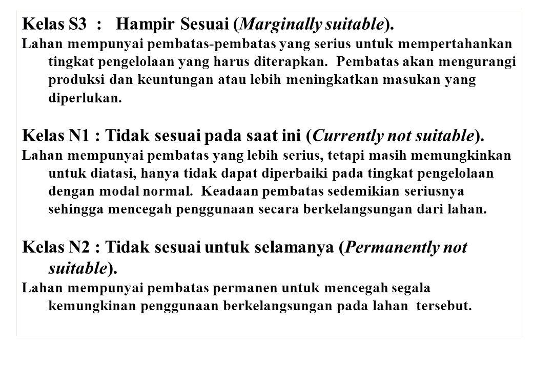 Kelas S3 : Hampir Sesuai (Marginally suitable). Lahan mempunyai pembatas-pembatas yang serius untuk mempertahankan tingkat pengelolaan yang harus dit