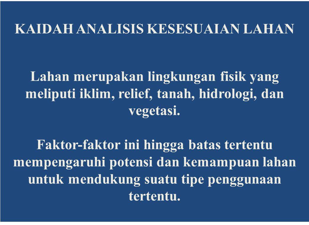 Klasifikasi Kesesuaian Lahan Metoda FAO (1976) Kesesuaian lahan adalah keadaan tingkat kecocokan dari sebidang lahan untuk suatu penggunaan tertentu.