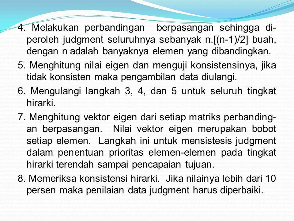 4. Melakukan perbandingan berpasangan sehingga di- peroleh judgment seluruhnya sebanyak n.[(n-1)/2] buah, dengan n adalah banyaknya elemen yang diband