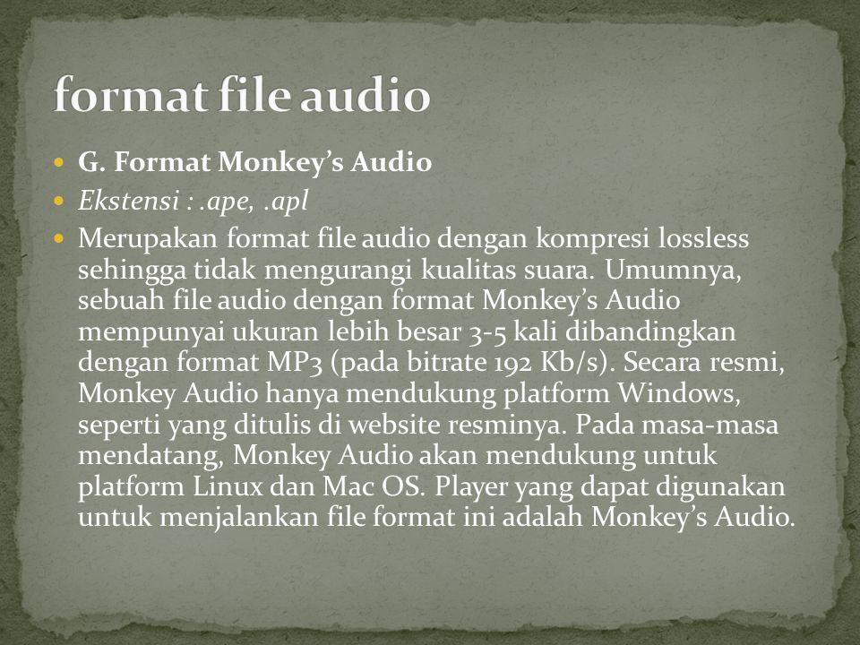 G. Format Monkey's Audio Ekstensi :.ape,.apl Merupakan format file audio dengan kompresi lossless sehingga tidak mengurangi kualitas suara. Umumnya, s