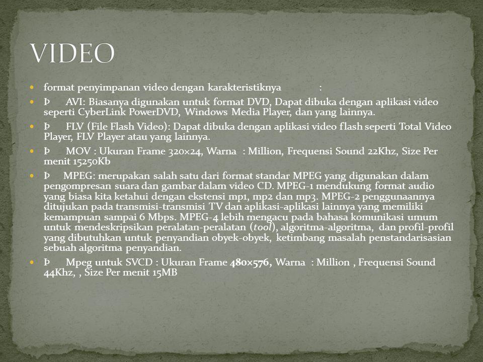 format penyimpanan video dengan karakteristiknya: Þ AVI: Biasanya digunakan untuk format DVD, Dapat dibuka dengan aplikasi video seperti CyberLink Pow