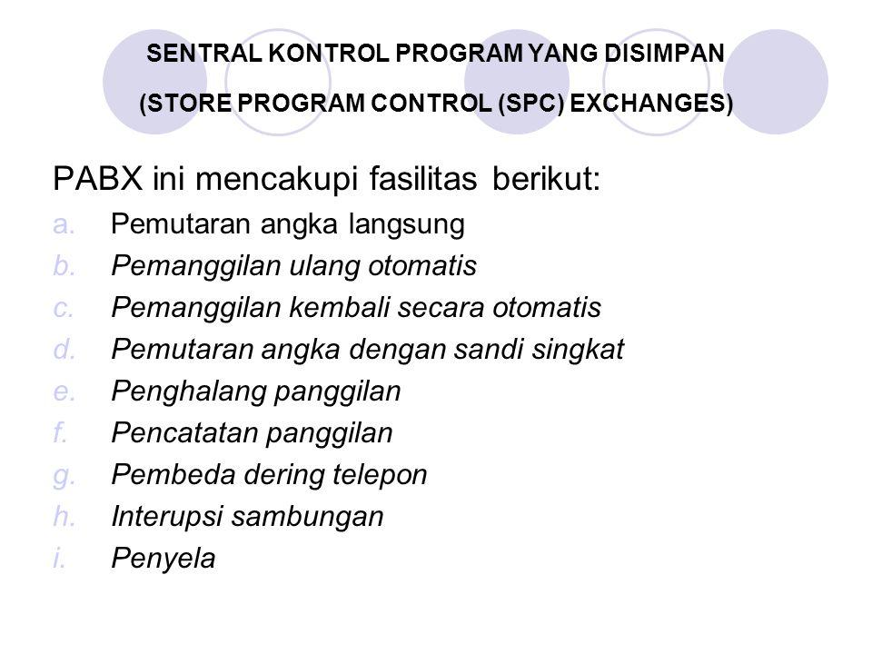 SENTRAL KONTROL PROGRAM YANG DISIMPAN (STORE PROGRAM CONTROL (SPC) EXCHANGES) PABX ini mencakupi fasilitas berikut: a.Pemutaran angka langsung b.Peman