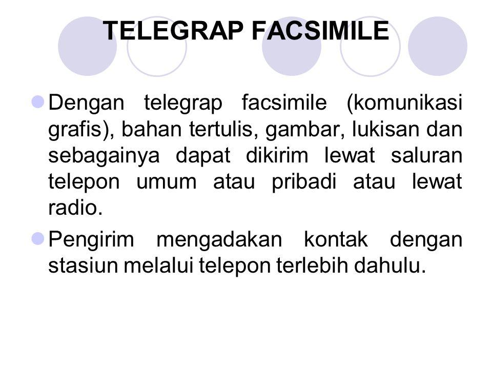 TELEGRAP FACSIMILE Dengan telegrap facsimile (komunikasi grafis), bahan tertulis, gambar, lukisan dan sebagainya dapat dikirim lewat saluran telepon u