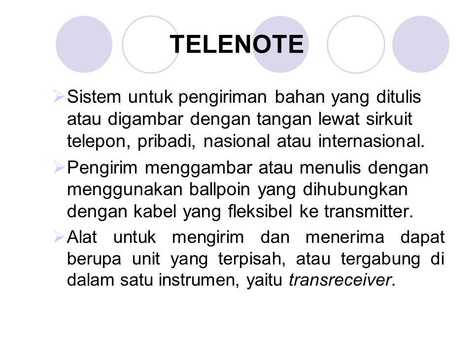 TELENOTE  Sistem untuk pengiriman bahan yang ditulis atau digambar dengan tangan lewat sirkuit telepon, pribadi, nasional atau internasional.  Pengi
