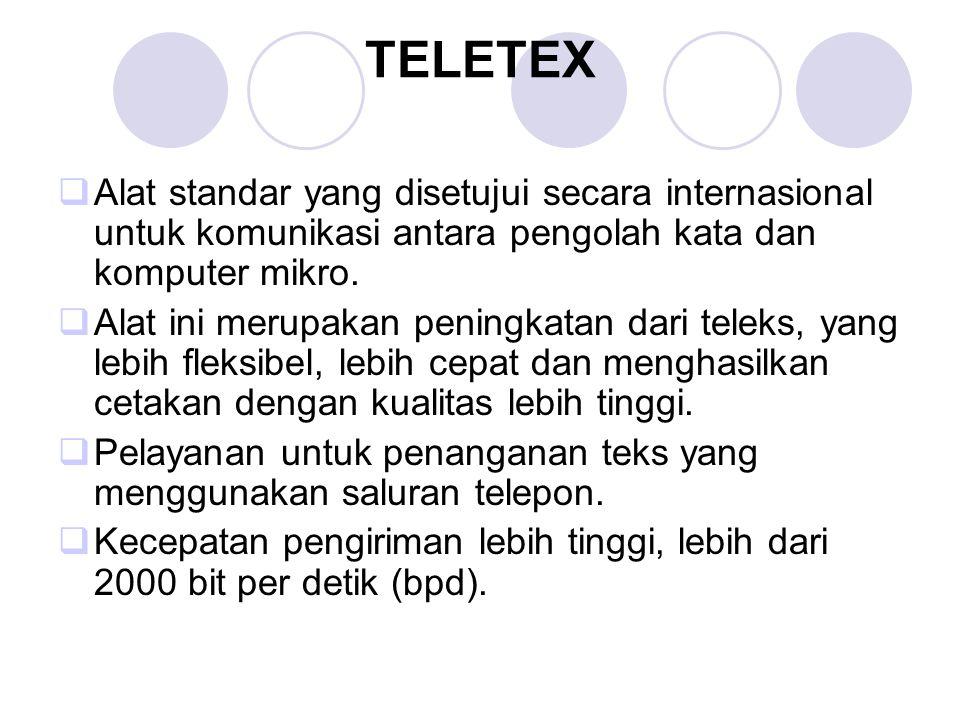 TELETEX  Alat standar yang disetujui secara internasional untuk komunikasi antara pengolah kata dan komputer mikro.  Alat ini merupakan peningkatan